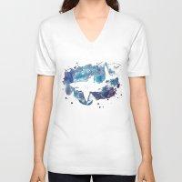 shark V-neck T-shirts featuring Shark by Vanishing Fin