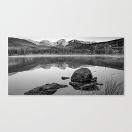 Rocky Mountain Landscape Panorama over Sprague Lake - Black and White Canvas Print