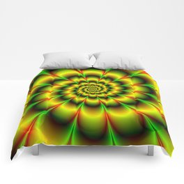 Spiral Rosette in Yellow Green and Red Comforters