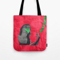cigarettes Tote Bags featuring Watermelon Cigarettes by Alicia Ortiz