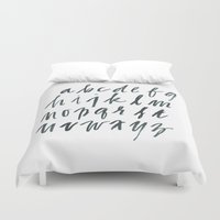alphabet Duvet Covers featuring Alphabet by Beth Laird
