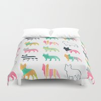french Duvet Covers featuring French Bulldogs by Anne Was Here