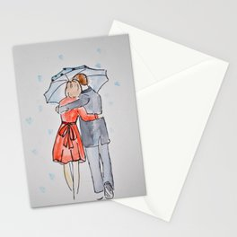 lovers in the rain Stationery Cards