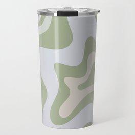 Liquid Swirl Contemporary Abstract Pattern in Light Sage Green Travel Mug