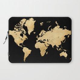 Sleek black and gold world map Laptop Sleeve