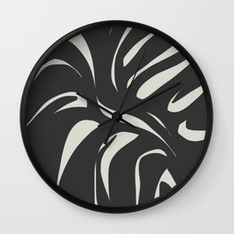 Monster leaf in black Wall Clock