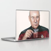 picard Laptop & iPad Skins featuring Tea. Earl Grey. Hot. Captain Picard Star Trek | Watercolor by Olechka