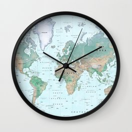 The World [Atlas] Shaded Relief Map Wall Clock