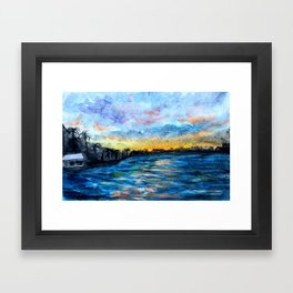 night sea Framed Art Print