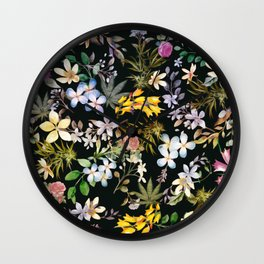 Flowers with Hidden Pot Leaves Wall Clock
