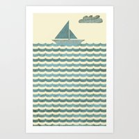 sailboat Art Prints featuring SailBoat by Jeremy Lobdell