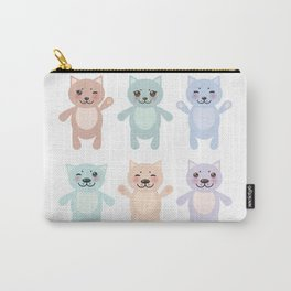 funny cats, pastel colors on white background Carry-All Pouch