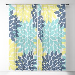 Navy Yellow Aqua Flower Pattern, Floral Pattern, Flower Petals, Flower Burst Sheer Curtain