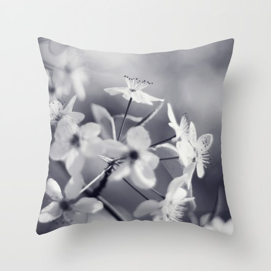 Pear Blossoms in Black and White Throw Pillow