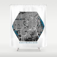 san francisco map Shower Curtains featuring San Francisco city map black colour by MCartography