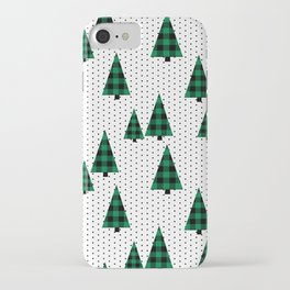 Christmas Tree forest minimal scandi dots plaid patterned holiday winter iPhone Case