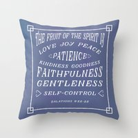 bible verse Throw Pillows featuring Galations 5 v22-23 - Typographic Bible Verse (blue) by Encouraging Verses UK