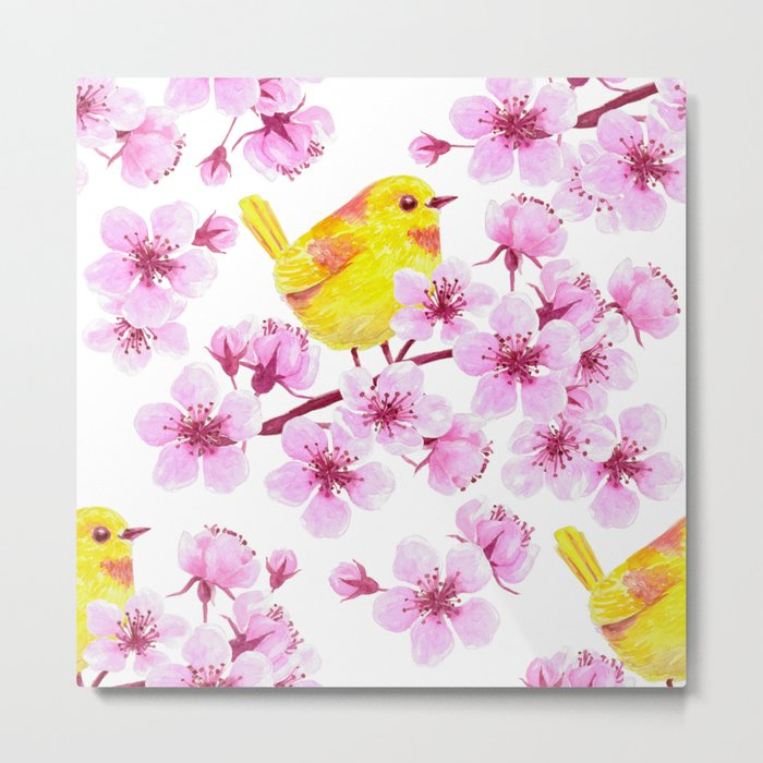 Cherry blossom and yellow bird Metal Print