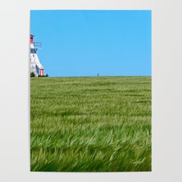 Lighthouse and the Crop Field Poster