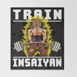 TRAIN INSAIYAN (Goku Deadlift) Throw Blanket