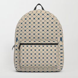 Blue & Beige Angled Polka Dot Grid Line Pattern Pairs To 2020 Color of the Year Chinese Porcelain Backpack