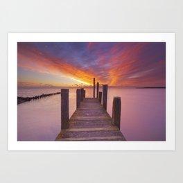 II - Seaside jetty at sunrise on Texel island, The Netherlands Art Print