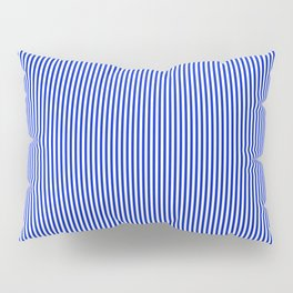 Cobalt Blue and White Vertical Nautical Sailor Stripe Pillow Sham