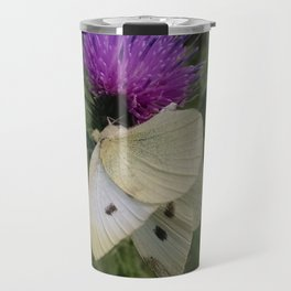 Cabbage White Butterfly on Canada Thistle Travel Mug