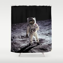 Buzz Aldrin on the Moon Shower Curtain