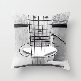 Guitar Strings - Black and White Throw Pillow