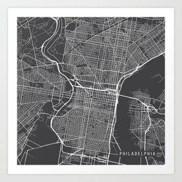 Pennsylvania Map, USA - Gray Art Print