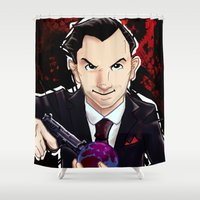 moriarty Shower Curtains featuring Moriarty will end your World by SashDoesDoodles
