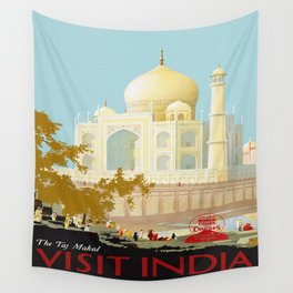 Visit India - Taj Mahal - Vintage Travel Poster Wall Tapestry