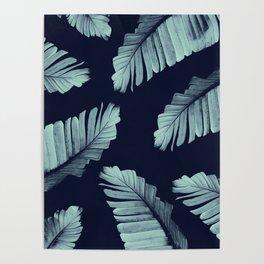 Navy Blue Banana Leaves Dream #2 #tropical #decor #art #society6 Poster