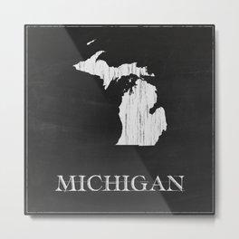 Michigan State Map Chalk Drawing Metal Print