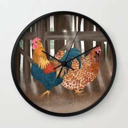 Hen and Rooster Wall Clock