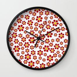 Dizzy Daisies - red on white Wall Clock