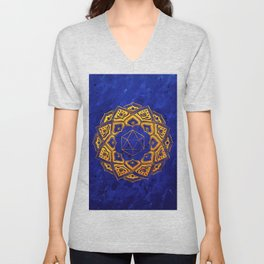 """Cosahedron, sacred geometry""  WATERCOLOR MANDALA (HAND PAINTED) BY ILSE QUEZADA Unisex V-Neck"