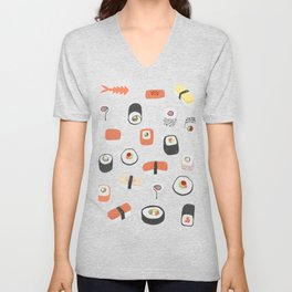 Sushi Roll Maki Nigiri Japanese Food Art Unisex V-Neck