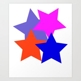 Kids 4 Stars Blue Pink Blue Grey Orange Stylish Design DBK4K Art Print