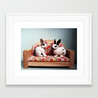 sofa Framed Art Prints featuring Sofa friends  by Rachel O'Dwyer