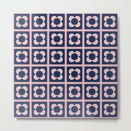 Scandi Flower Minimalist Mid Century Floral Pattern 2 in Pink, White, and Navy Blue Metal Print
