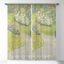 Garden in Auvers by Vincent Van Gogh - Vintage Painting Sheer Curtain