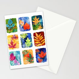 Colorful Summer Leaves Stationery Cards