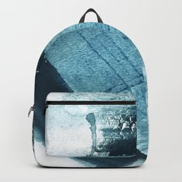 Pacific: a minimal abstract mixed media piece in blues and white Backpack