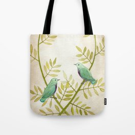 Celadon Birds Tote Bag