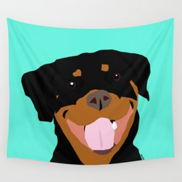 Rottweiler graphic on Mint Wall Tapestry