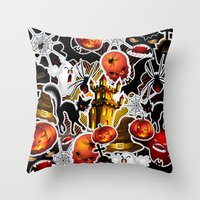 saga Throw Pillows featuring Halloween Spooky Cartoon Saga by BluedarkArt