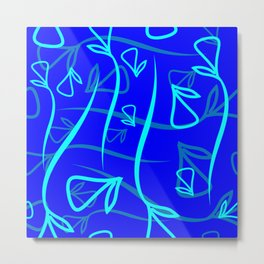 Geometric pattern made from plant blue and mint elements on a blue background Metal Print