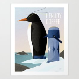 Penguin Enjoys Coffee Art Print